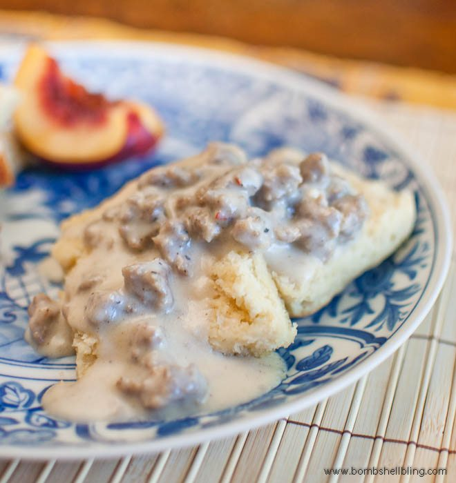 The world's best buttermilk biscuits, topped with country style sausage gravy.