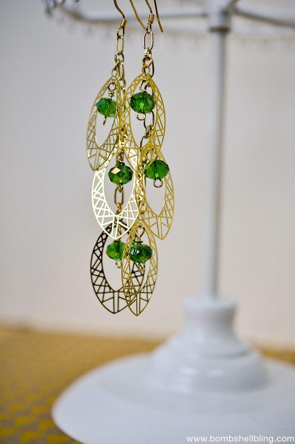 Gold & Green Earrings CC-2