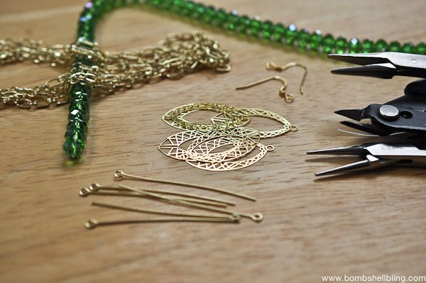 Gold & Green Earrings Tutorial CC-1