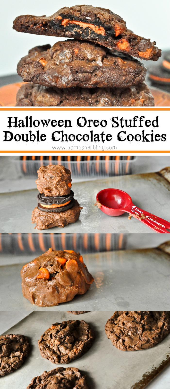 WHOA MAMA!!! Halloween Oreo Stuffed Double Chocolate Cookies!!!!!