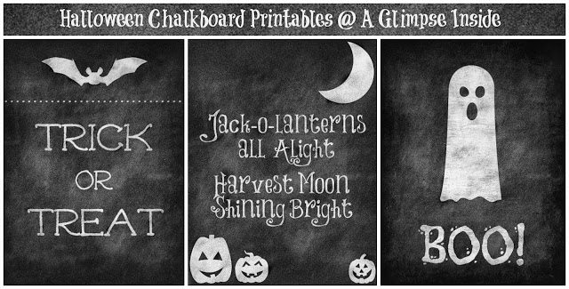 Chalkboard Halloween printables collage