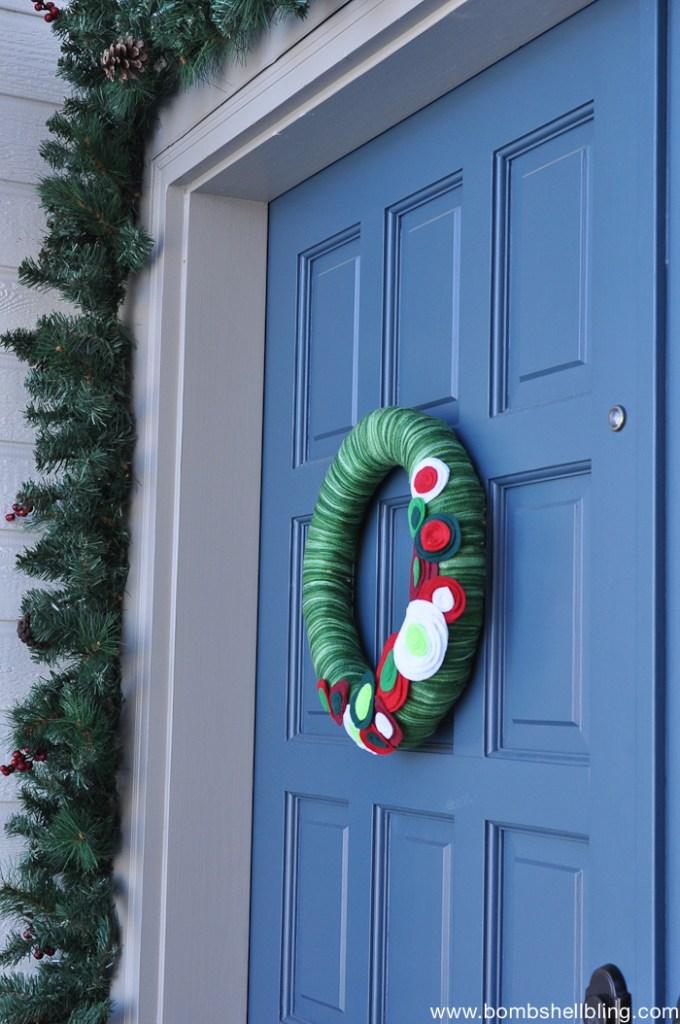 Christmas Felt Flower Wreath-1
