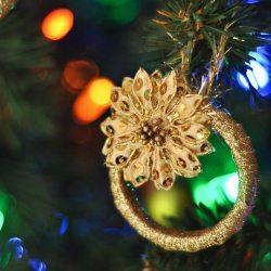 Sparkling Gold Wreath Christmas Ornament