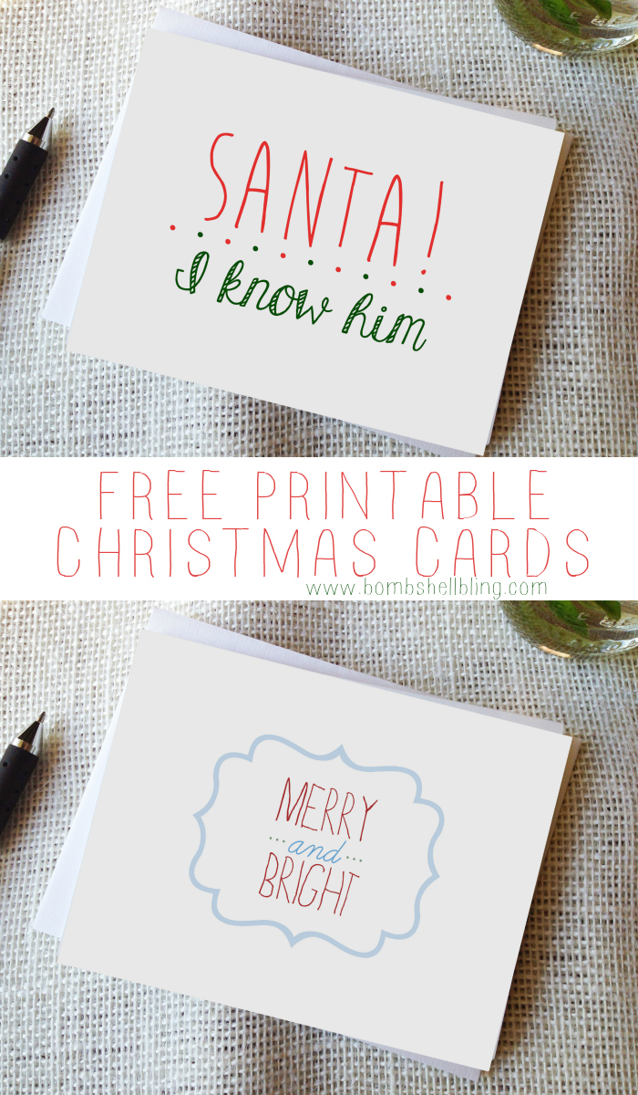 Two FREE Printable Christmas Cards