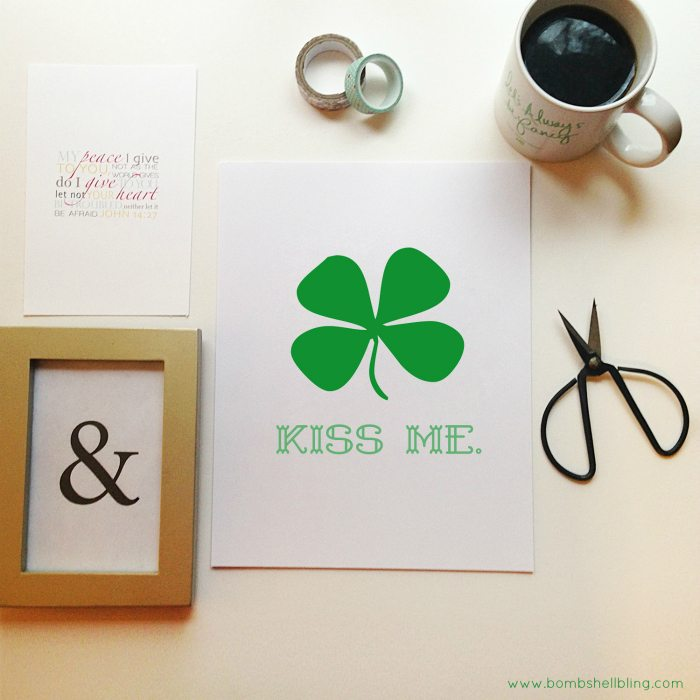 Pop this free St. Patrick's Day KISS ME printable into a frame for instant holiday decor!