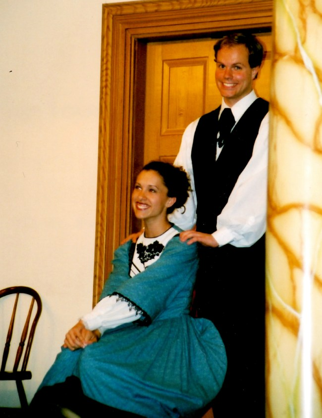 Young Performing Missionaries in Nauvoo, Illinois.  Both of us much thinner, and one of us with WAY more hair...  ;)