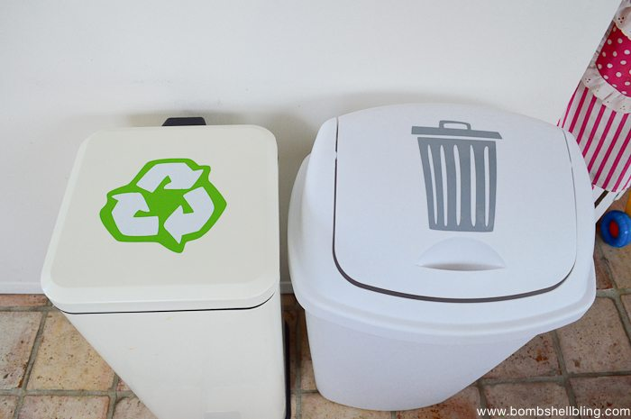 Vinyl labels on trash and recycling bins!  LOOOVE!