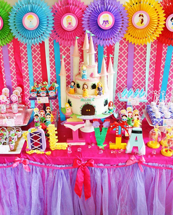 *colorful disney-princess-dessert-table