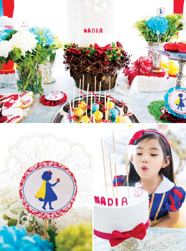 Disney princess parties Snow White birthday party collage
