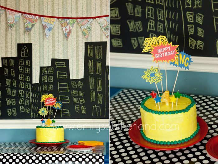 superhero birthday party cake collage