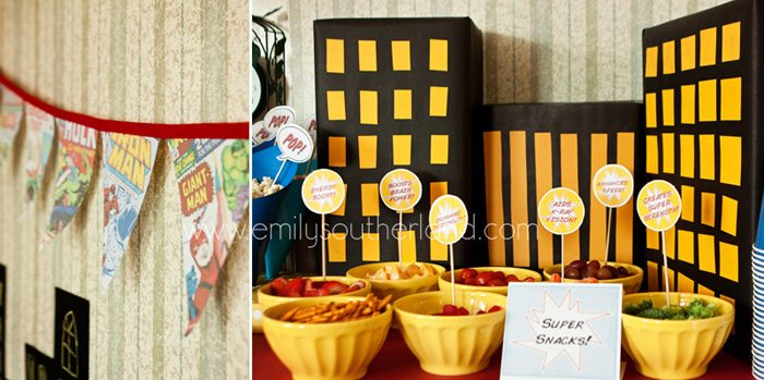 superhero birthday party table decor collage