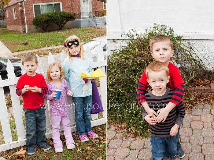 kids playing outside at superhero birthday party collage