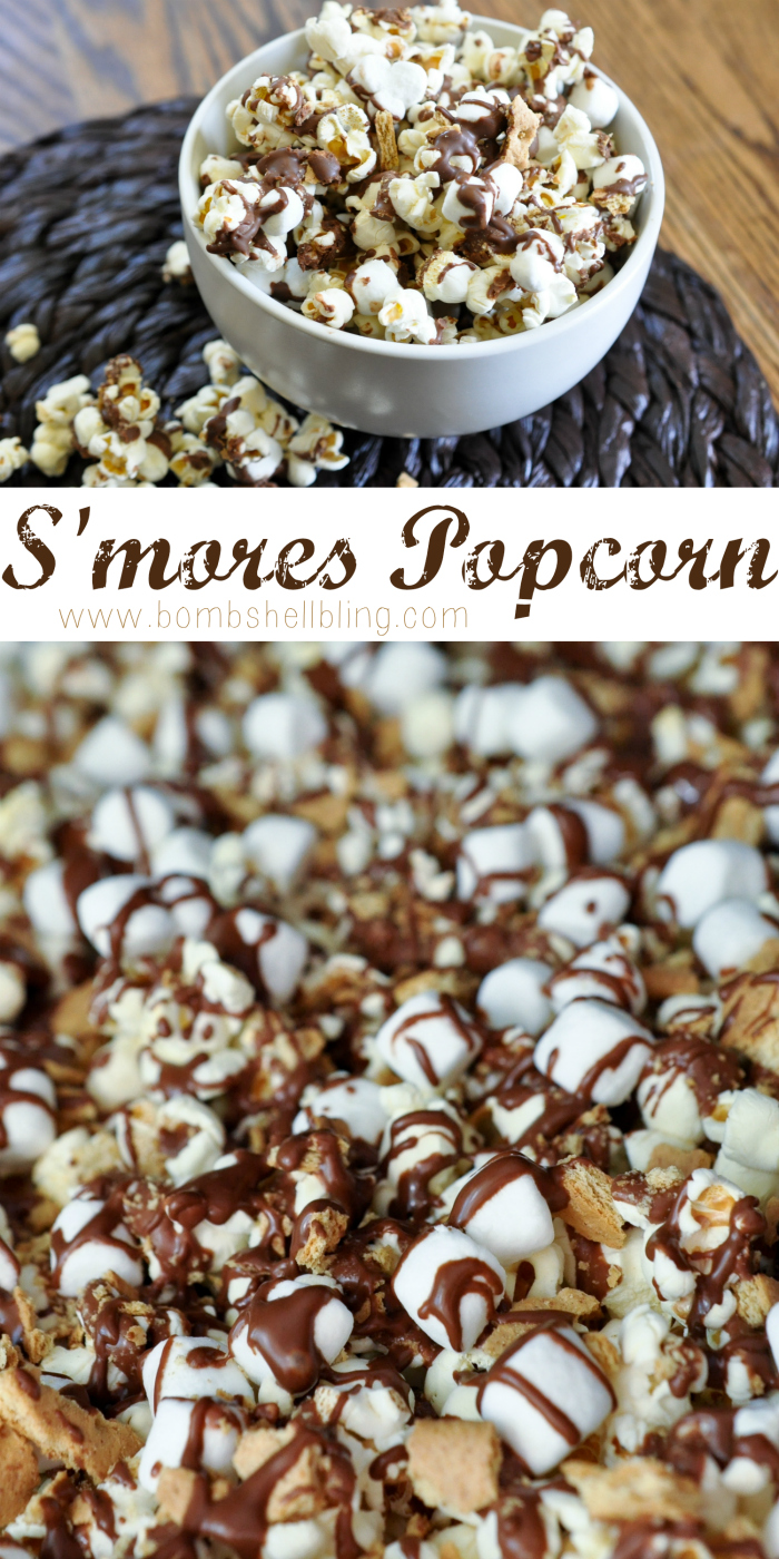 s'mores popcorn recipe in a bowl long pin collage