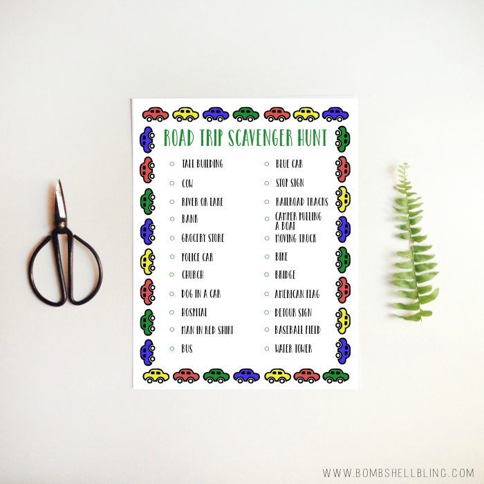 FREE Road Trip Scavenger Hunt Printable