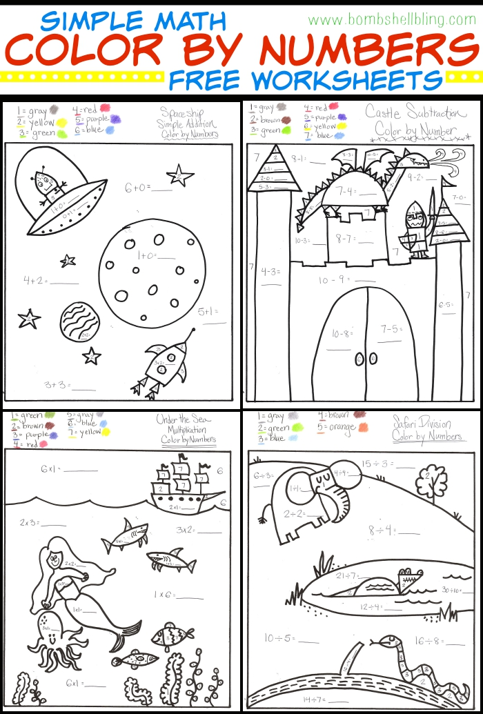 Simple Math Color by Number FREE Worksheets