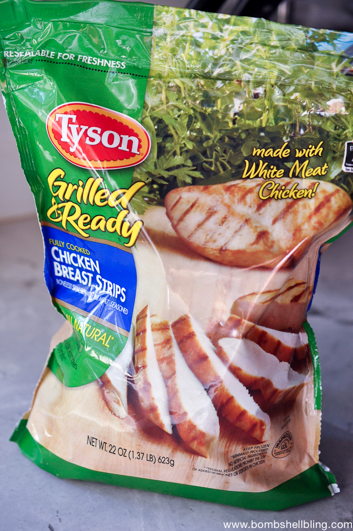 Grilled chicken strips make dinner prep so much quicker!