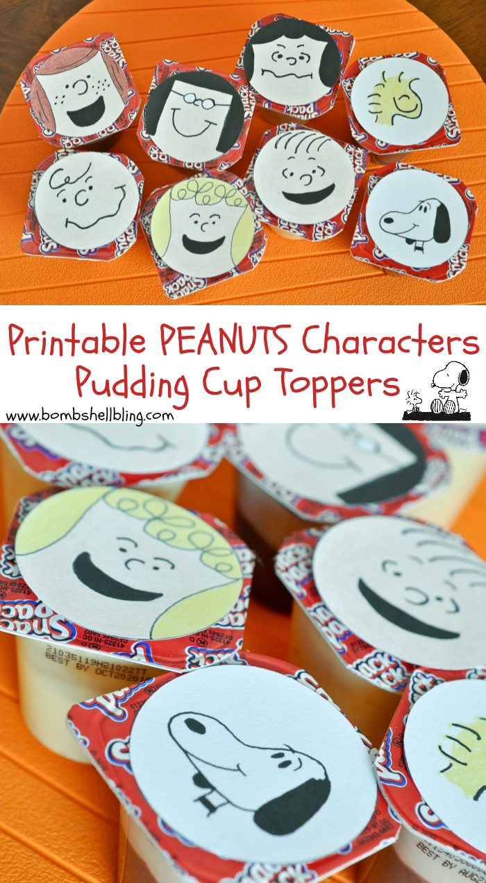 FREE Printable PEANUTS Characters Pudding Cup or Cupcake Toppers