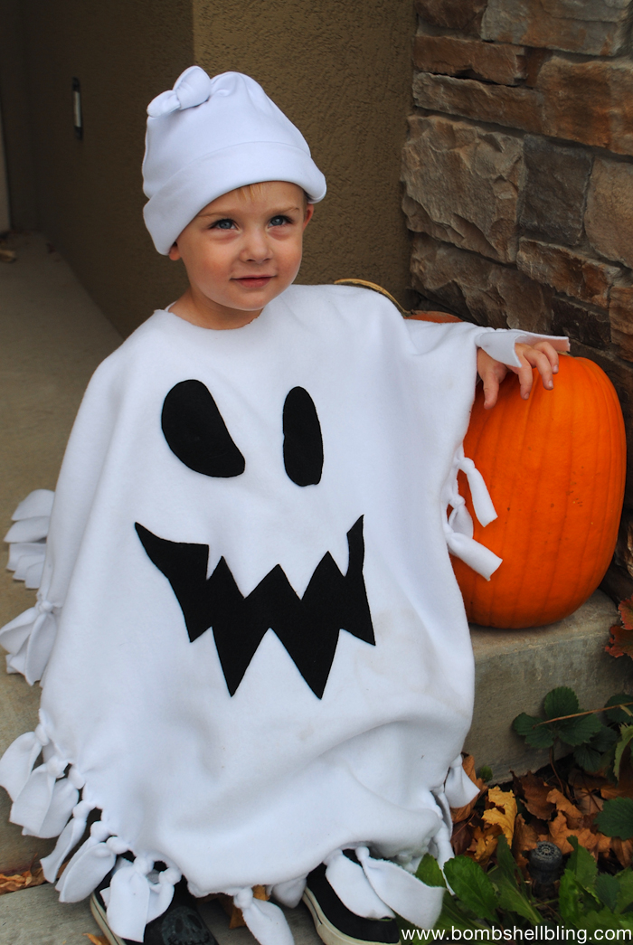 No Sew Ghost Poncho Costume-1