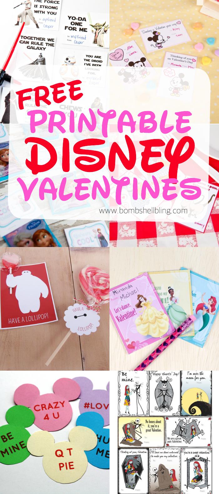 free printable disney valentines  bombshell bling