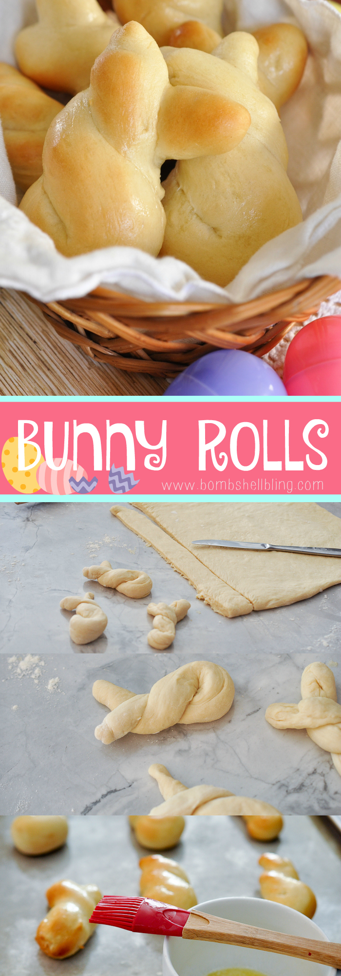 These Easter Bunny rolls are the perfect festive addition to your Easter dinner!  They are simple to form using your favorite bread dough.