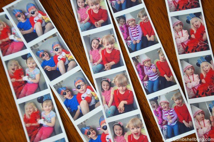 Phot booth stlye photos of girls at disney junior birthday party