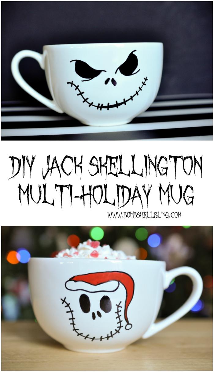 This DIY Jack Skellington Multi-Holiday Mug is THE CUTEST and looks SOO easy to make! I LOVE IT! #jackskellington #nightmarebeforechristmas #Halloween #Christmas