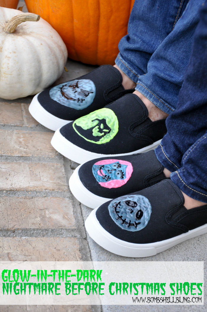 These glow-in-the-dark Nightmare Before Christmas shoes are the most adorable Halloween DIY ever!! I can't believe it's just puff paint!