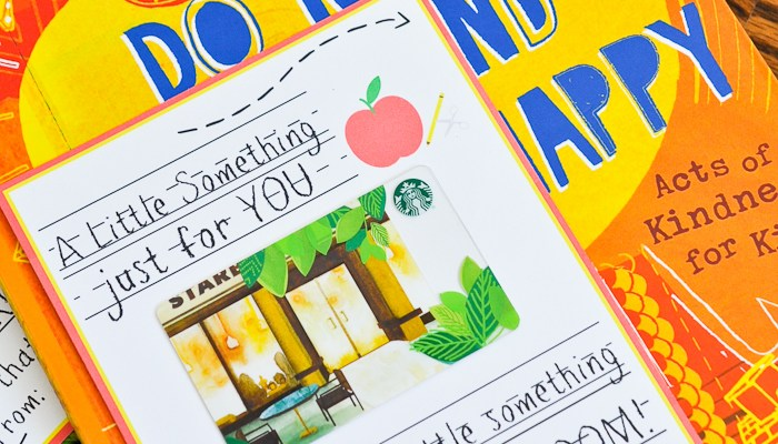 Printable Teacher Gift Card and Book Gift Idea