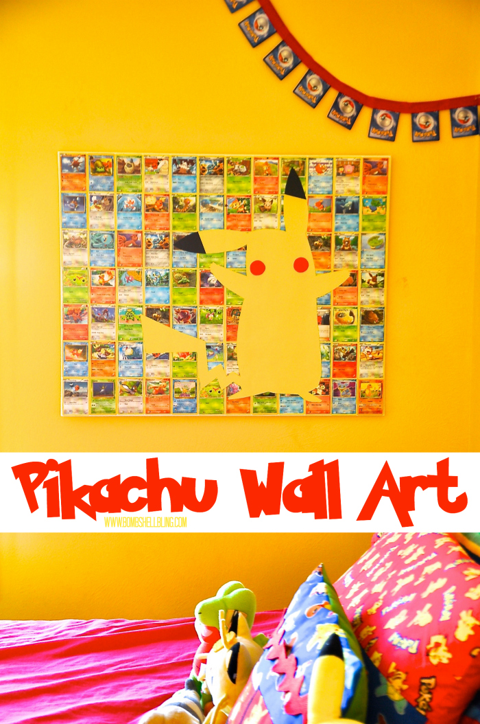 This Pikachu art is perfect for the wall of any Pokemon fan's bedroom! Colorful, fun, and surprisingly simple to make, this is the perfect project for a Pokemon fanatic!