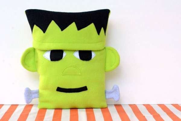 This Frankenstein pillow is the PERFECT decor for Halloween!  Such a cute, bold statement piece, but made with soft, cuddly fleece.