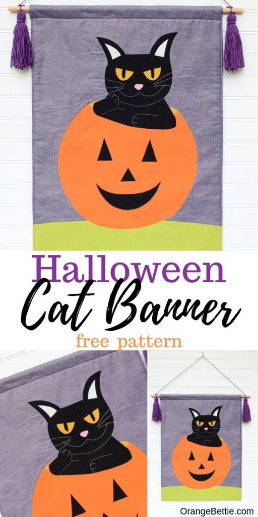 This free sewing tutorial and pattern will allow you to make this adorable mischievous black cat banner as part of your Halloween decor!