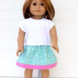 18″ Doll Clothes – Crop Tee and Skirt – Free Pattern