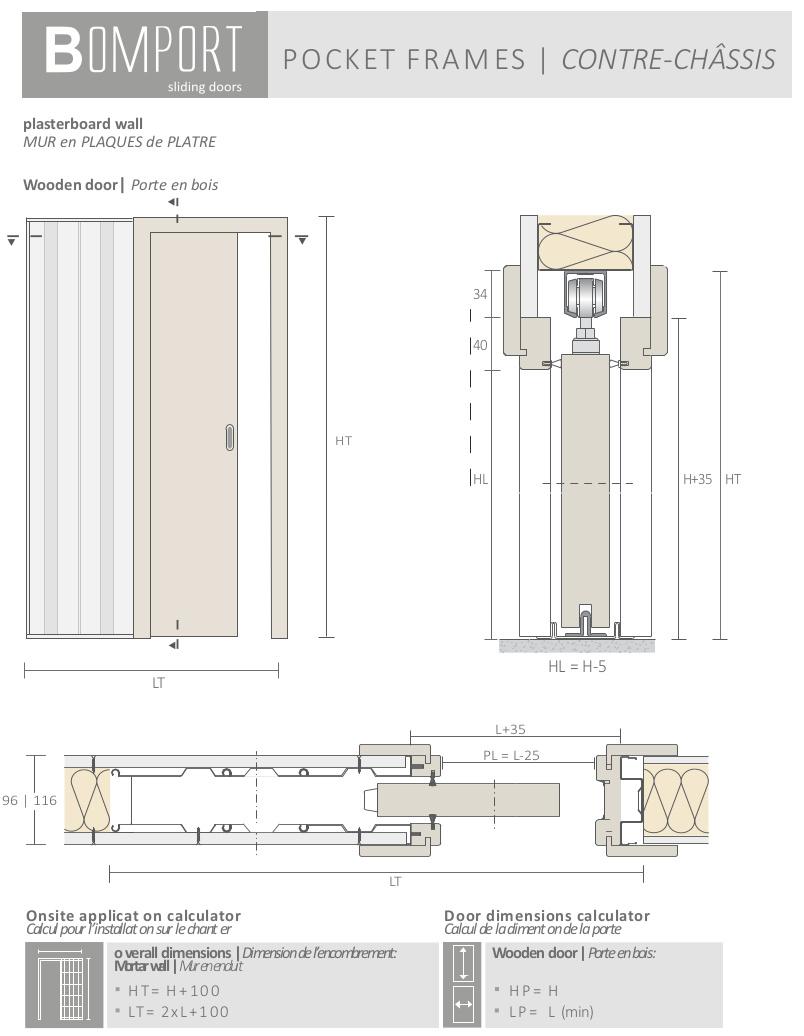 bomport caissons contre chassis coulissants a galandage pour portes coulissantes sur mesure