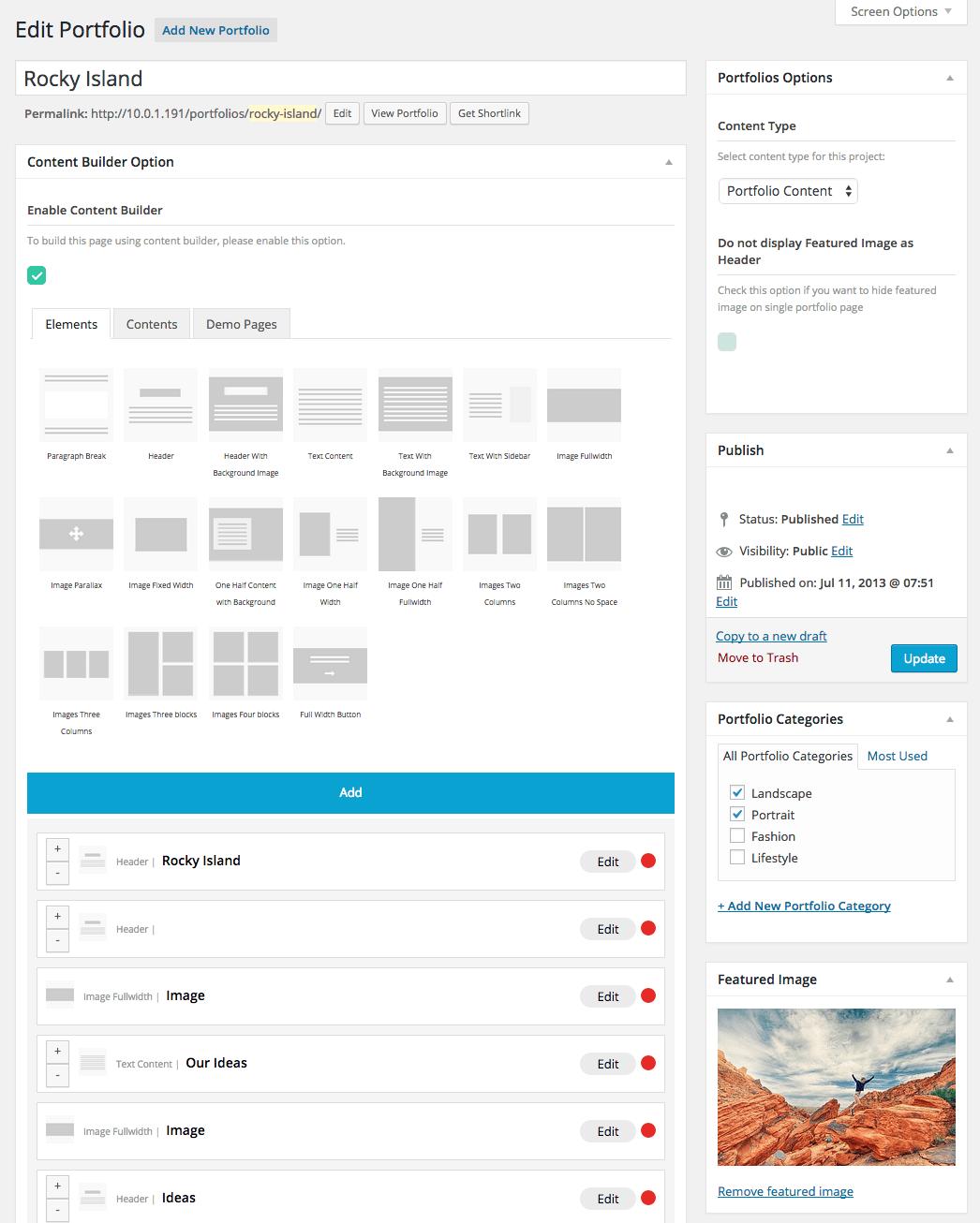 Portfolio Content Builder Options