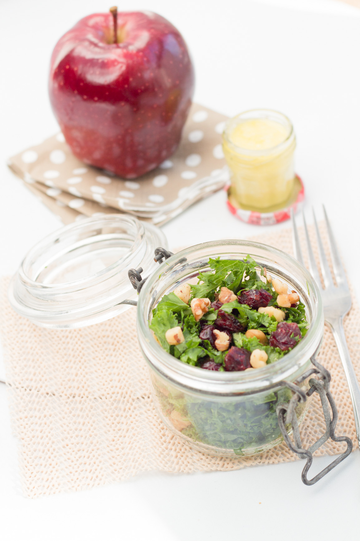 Cranberry Walnut kale salad with goat cheese dressing