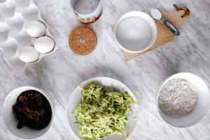 Ingredients mise en place for a chocolate zucchinicake