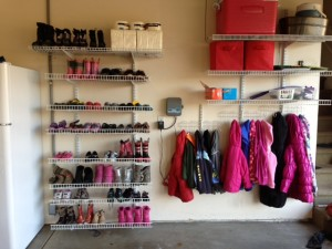 Garage organization - coat racks and shoes