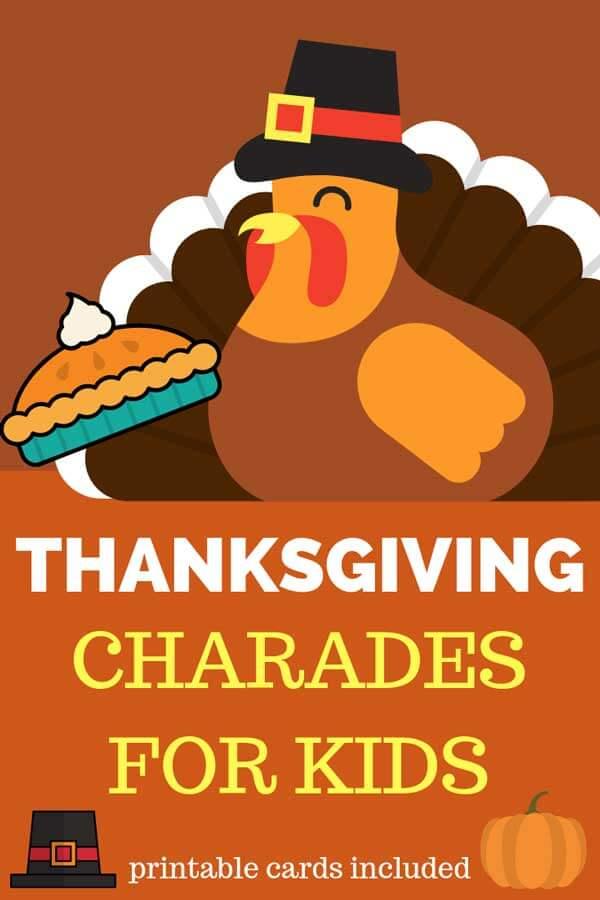 Thanksgiving Charades Word List Printable BonBon Break