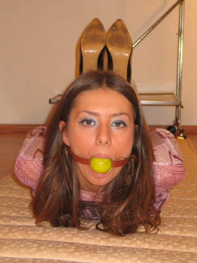 Brunette Girlfriend from Germany is hogtied and gagged
