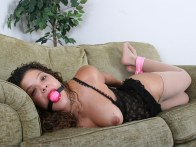 Curly Girlfriend enjoys being tied up and gagged at Home