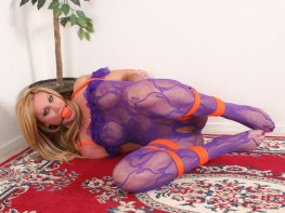 Hot Blond MILF tied up and gagged in sexy Lace Outfit