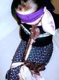 Hot young Girls blindfolded and gagged with Scarves
