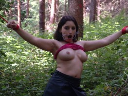 Hot young Margaret gets tied and gagged Outside