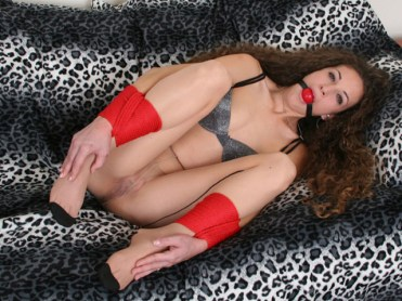 Hot young Wife spread tied and Ball Gagged in Pantyhose