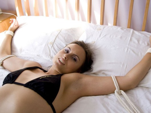 Incredibly cute Amateur Housewife tightly tied in Bedroom