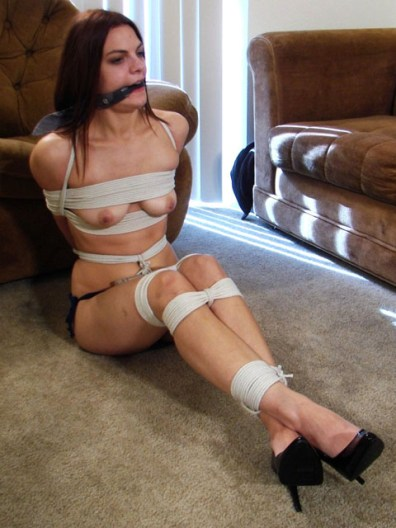 Kinky Girlfriend tightly bound in Heels and Lingerie