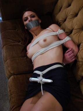 Petite sexy Girlfriend bound and Tape gagged at Home