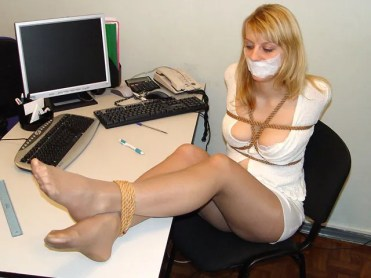Sexy Secretary from Slovakia bound and gagged in the Office