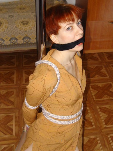 Sexy Wife from Moscow is tied and gagged in Bedroom