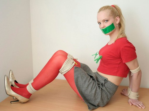 Sexy young Diana from Russia tightly tied up and gagged